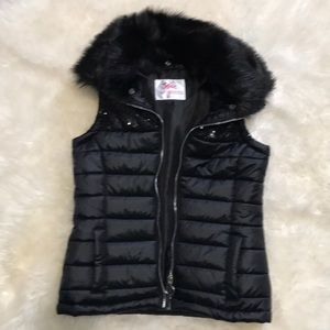 Justice brand black puffy vest
